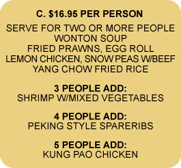 $16.69 MEAL FOR TWO OR MORE